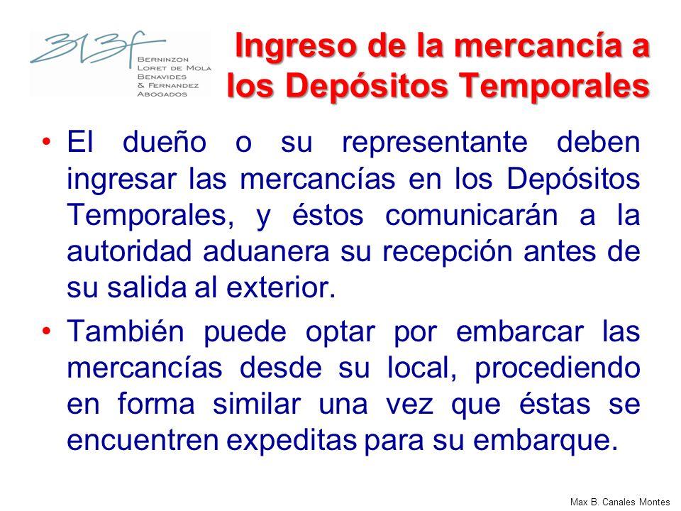 Ingreso de la mercancía a los Depósitos Temporales
