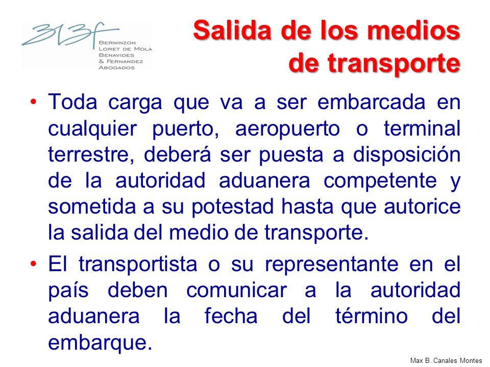 Salida de los medios de transporte