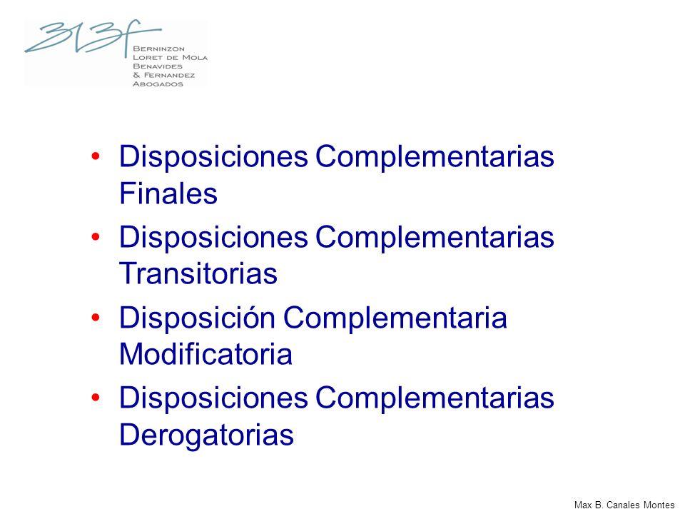 Disposiciones Complementarias Finales