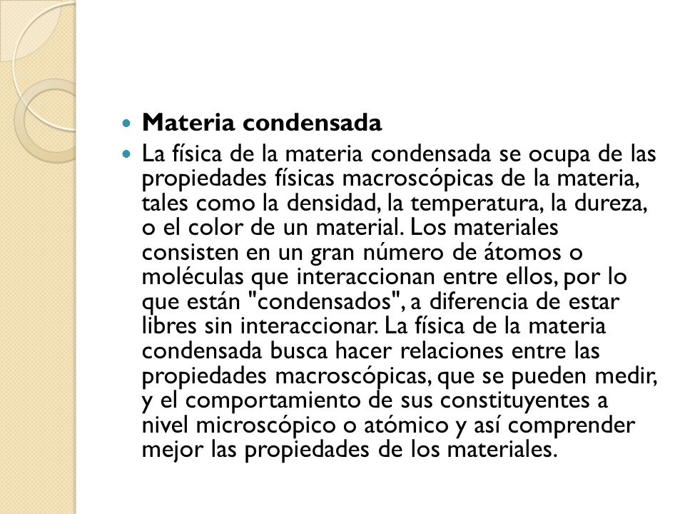 Materia condensada