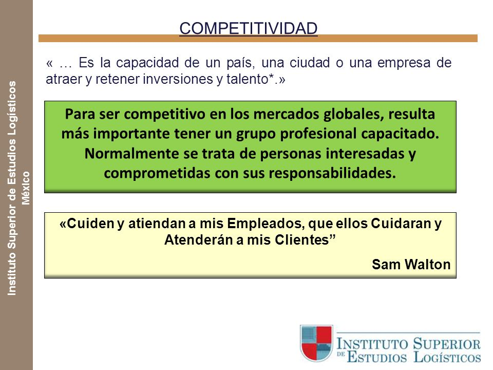 COMPETITIVIDAD « … Es la capacidad de un país, una ciudad o una empresa de atraer y retener inversiones y talento*.»