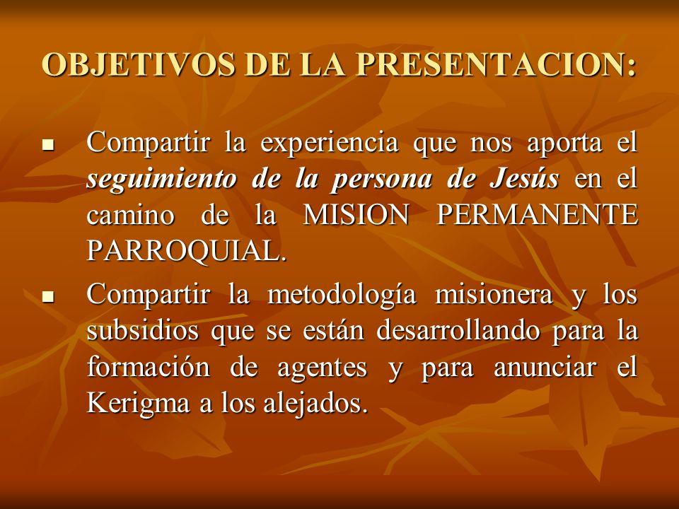 OBJETIVOS DE LA PRESENTACION: