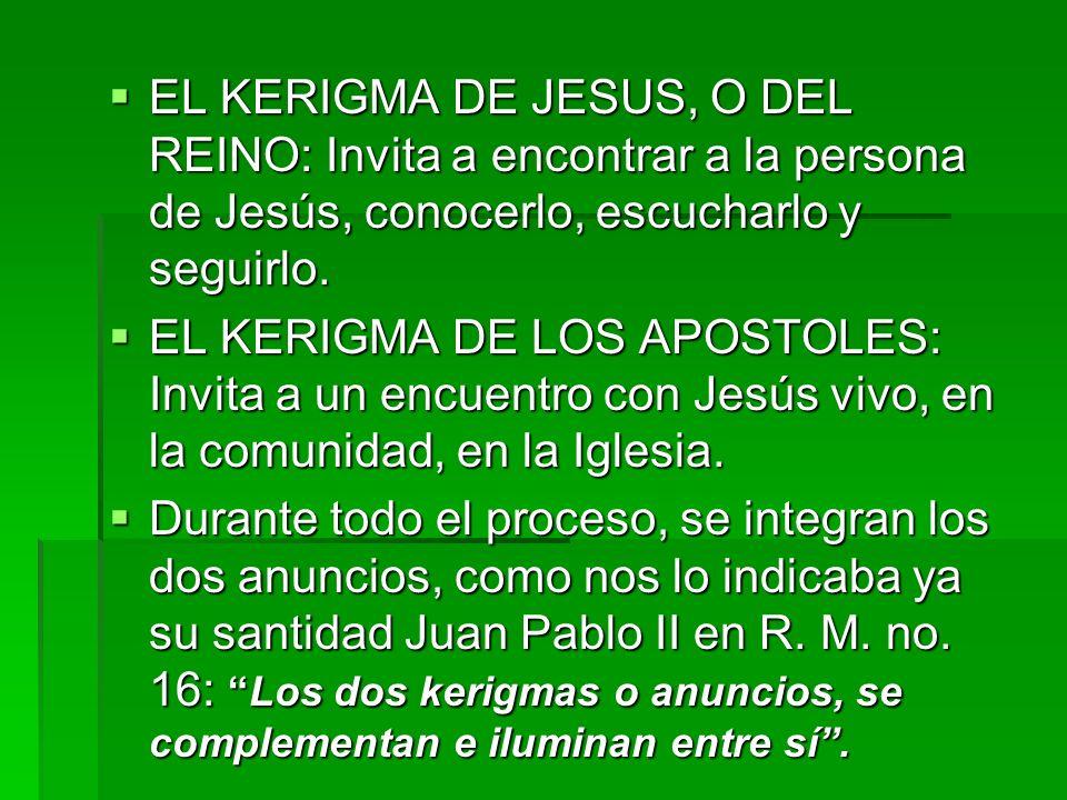 EL KERIGMA DE JESUS, O DEL REINO: Invita a encontrar a la persona de Jesús, conocerlo, escucharlo y seguirlo.