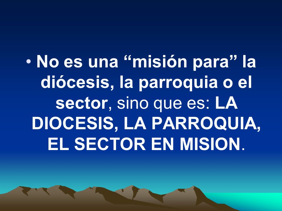 No es una misión para la diócesis, la parroquia o el sector, sino que es: LA DIOCESIS, LA PARROQUIA, EL SECTOR EN MISION.