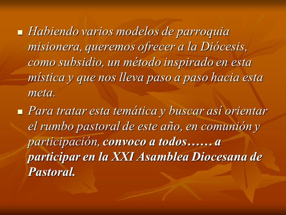 Habiendo varios modelos de parroquia misionera, queremos ofrecer a la Diócesis, como subsidio, un método inspirado en esta mística y que nos lleva paso a paso hacia esta meta.