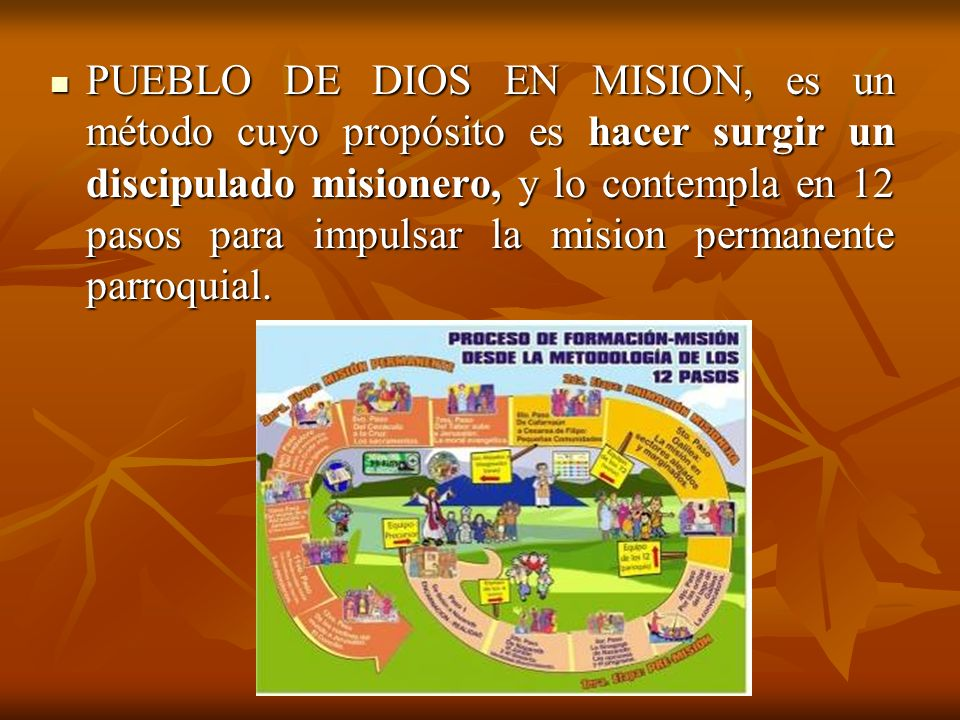 PUEBLO DE DIOS EN MISION, es un método cuyo propósito es hacer surgir un discipulado misionero, y lo contempla en 12 pasos para impulsar la mision permanente parroquial.