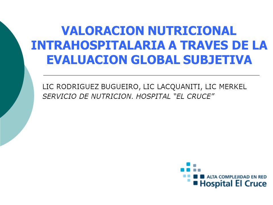 VALORACION NUTRICIONAL INTRAHOSPITALARIA A TRAVES DE LA EVALUACION GLOBAL SUBJETIVA