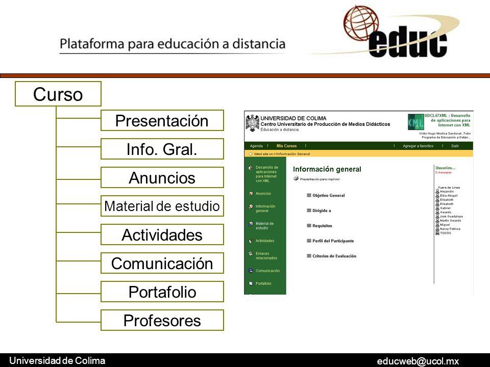 Curso Presentación Info. Gral. Anuncios Actividades Comunicación