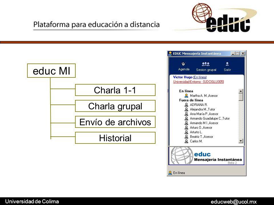 educ MI Charla 1-1 Charla grupal Envío de archivos Historial