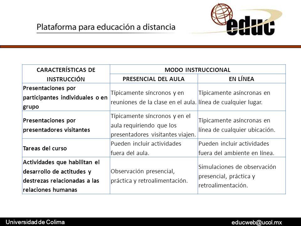CARACTERÍSTICAS DE INSTRUCCIÓN