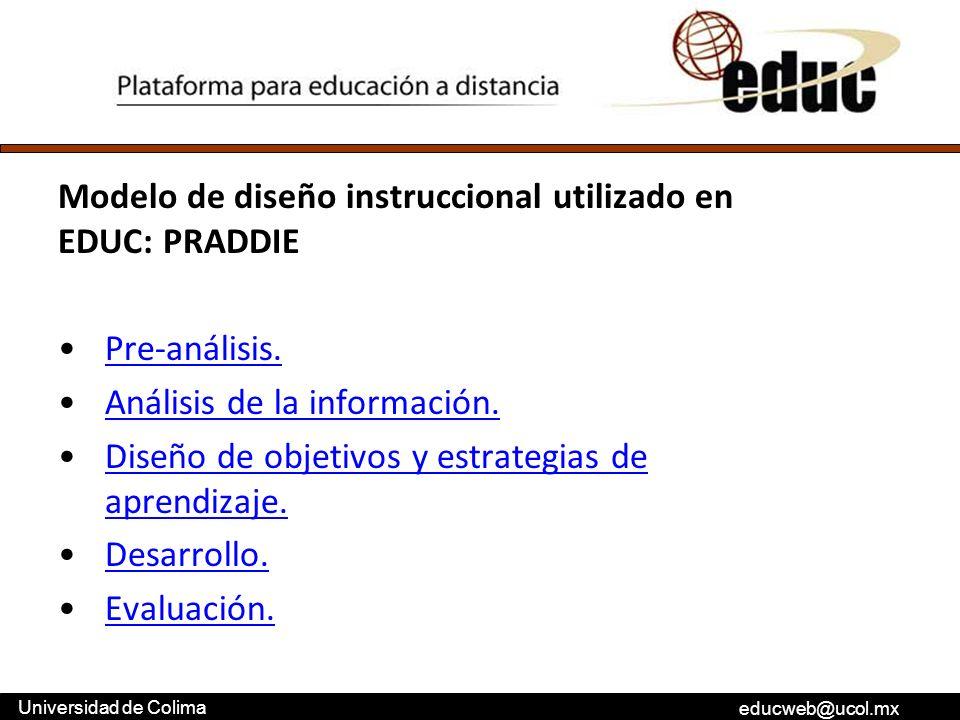 Modelo de diseño instruccional utilizado en EDUC: PRADDIE
