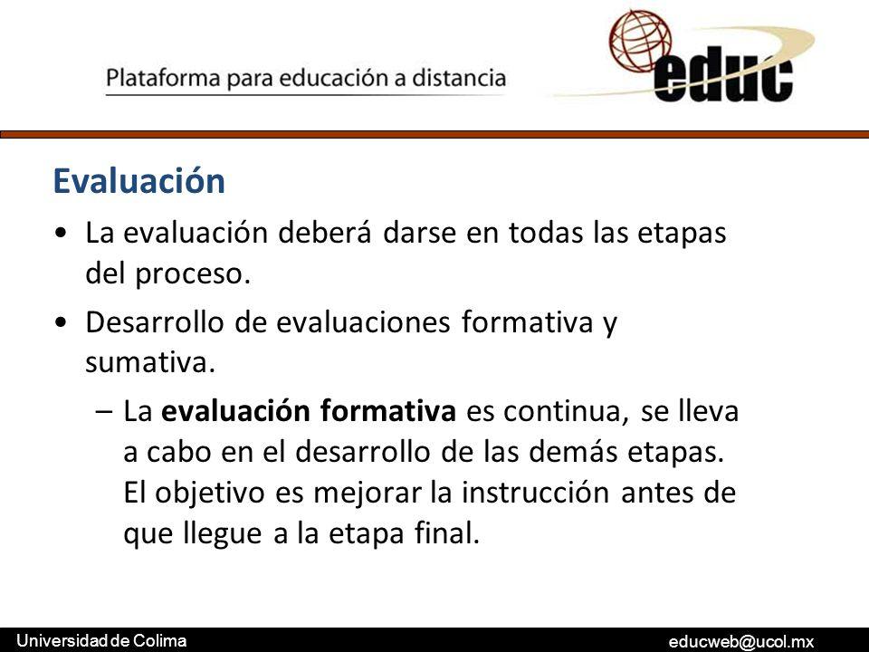 Evaluación La evaluación deberá darse en todas las etapas del proceso.