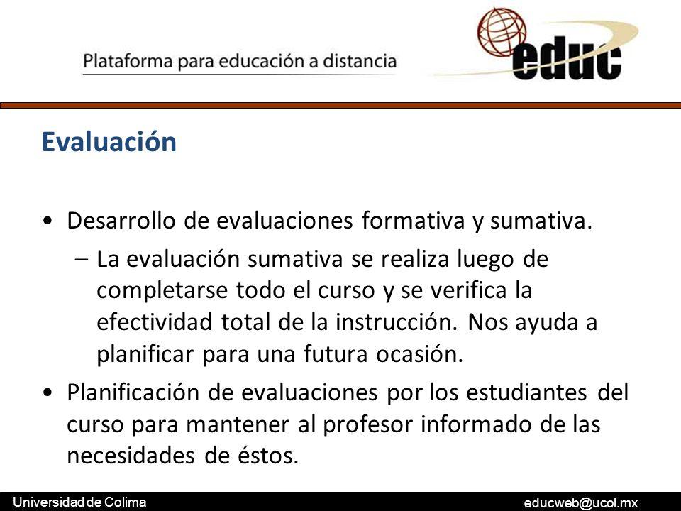 Evaluación Desarrollo de evaluaciones formativa y sumativa.