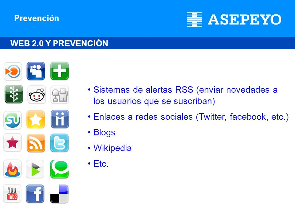 Enlaces a redes sociales (Twitter, facebook, etc.) Blogs Wikipedia