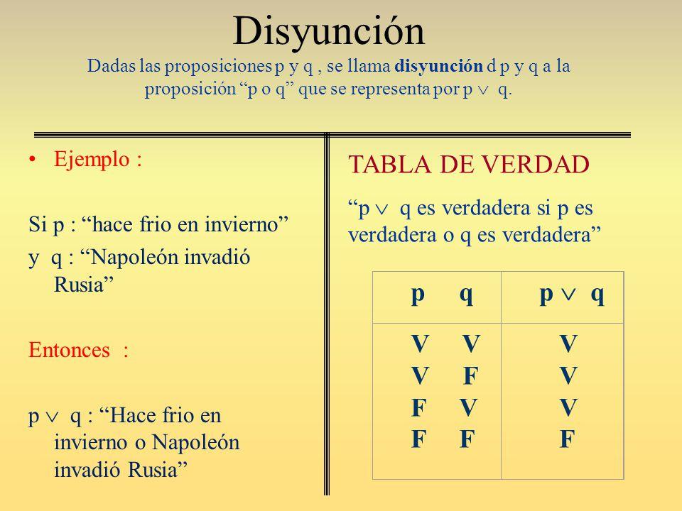 Disyunción Dadas las proposiciones p y q , se llama disyunción d p y q a la proposición p o q que se representa por p  q.