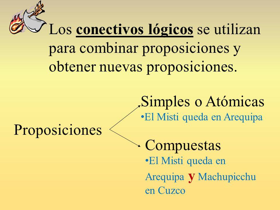 Los conectivos lógicos se utilizan para combinar proposiciones y obtener nuevas proposiciones.