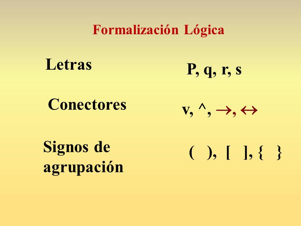 Letras P, q, r, s Conectores v, ^, ,  Signos de agrupación