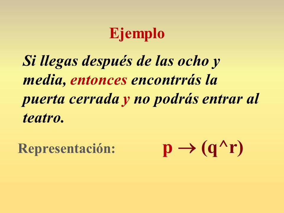 Representación: p  (q^r)