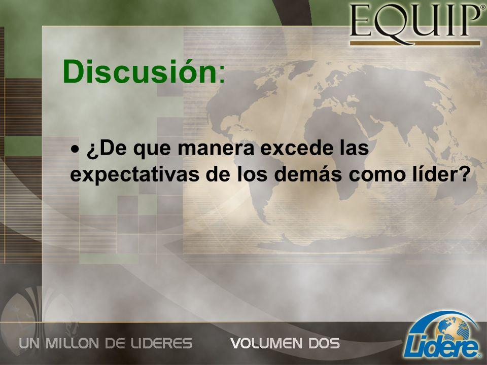 Discusión: ¿De que manera excede las expectativas de los demás como líder