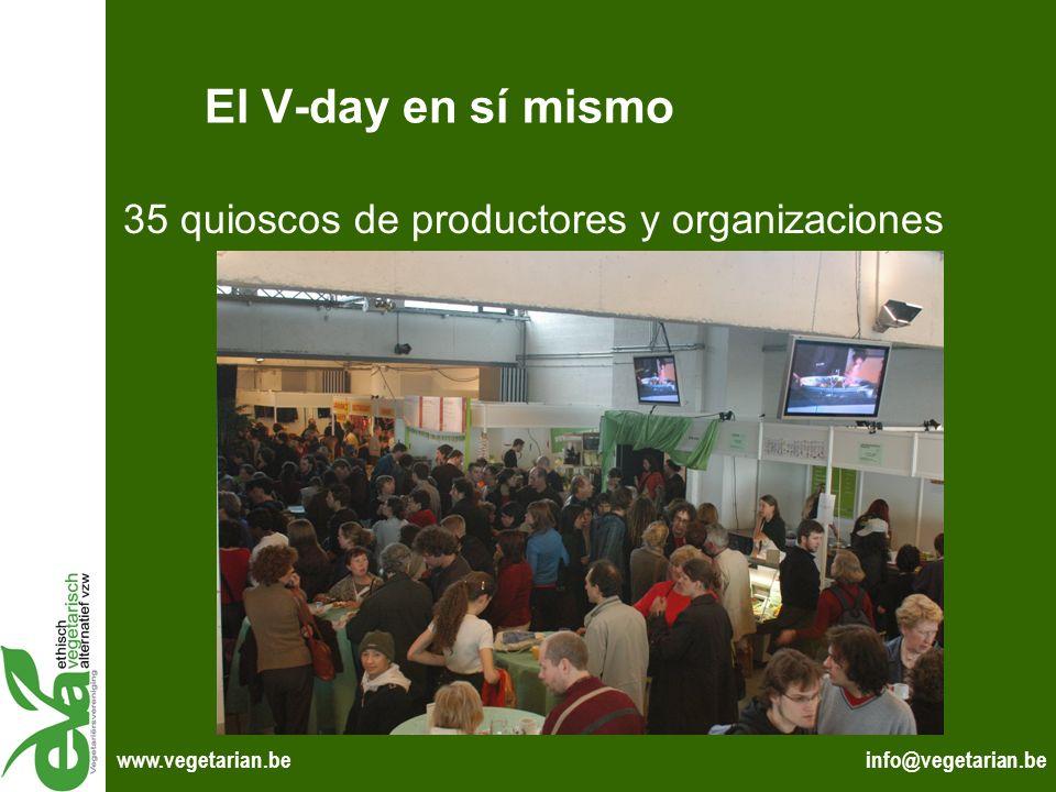 El V-day en sí mismo 35 quioscos de productores y organizaciones