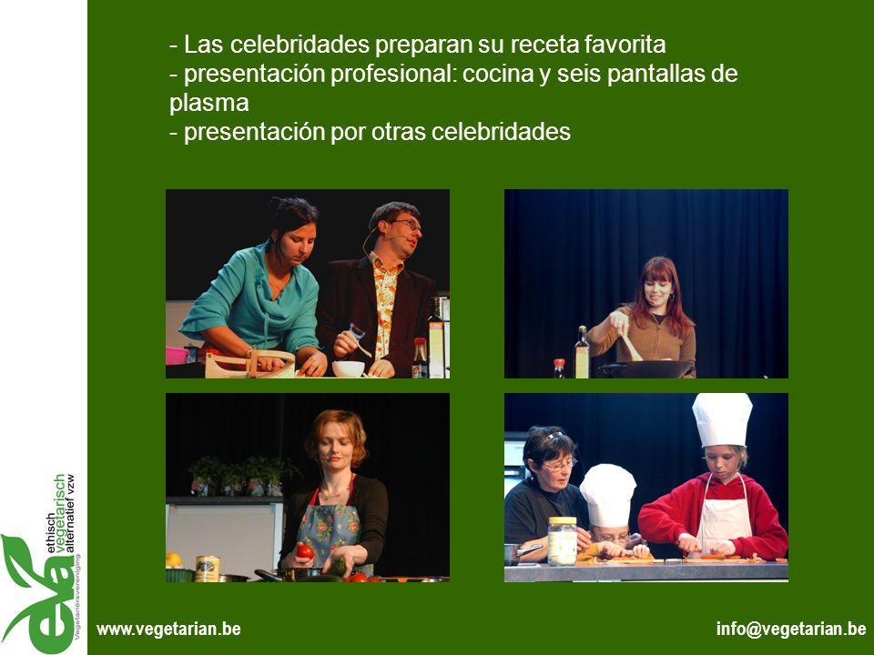 Las celebridades preparan su receta favorita - presentación profesional: cocina y seis pantallas de plasma - presentación por otras celebridades