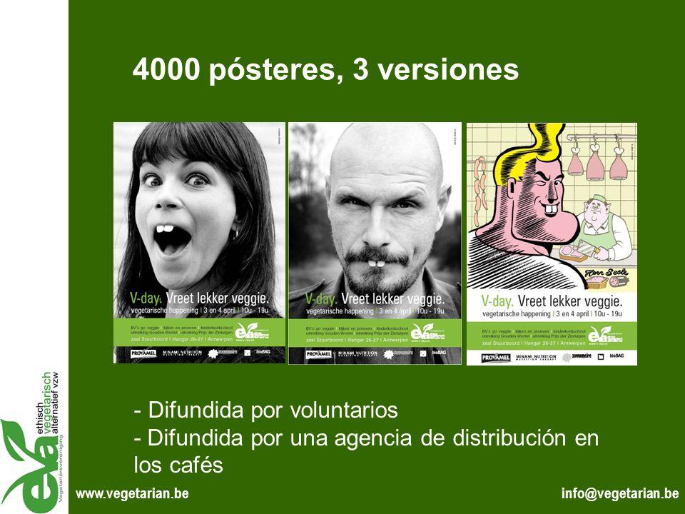 4000 pósteres, 3 versiones Difundida por voluntarios - Difundida por una agencia de distribución en los cafés.