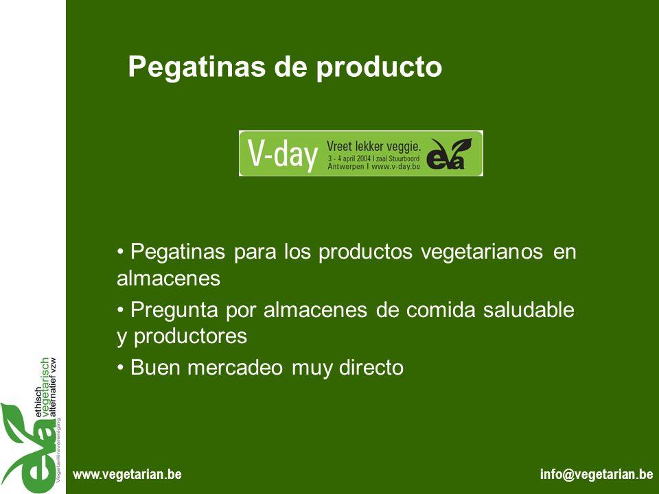Pegatinas de producto Pegatinas para los productos vegetarianos en almacenes. Pregunta por almacenes de comida saludable y productores.