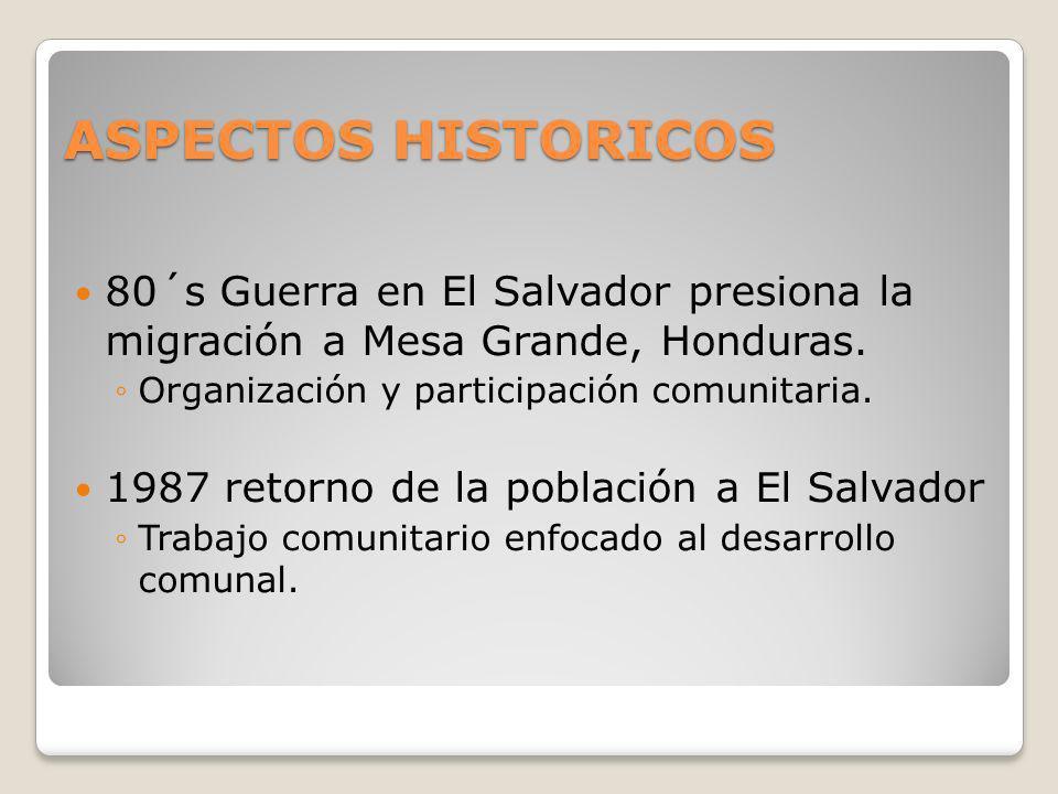 ASPECTOS HISTORICOS 80´s Guerra en El Salvador presiona la migración a Mesa Grande, Honduras. Organización y participación comunitaria.