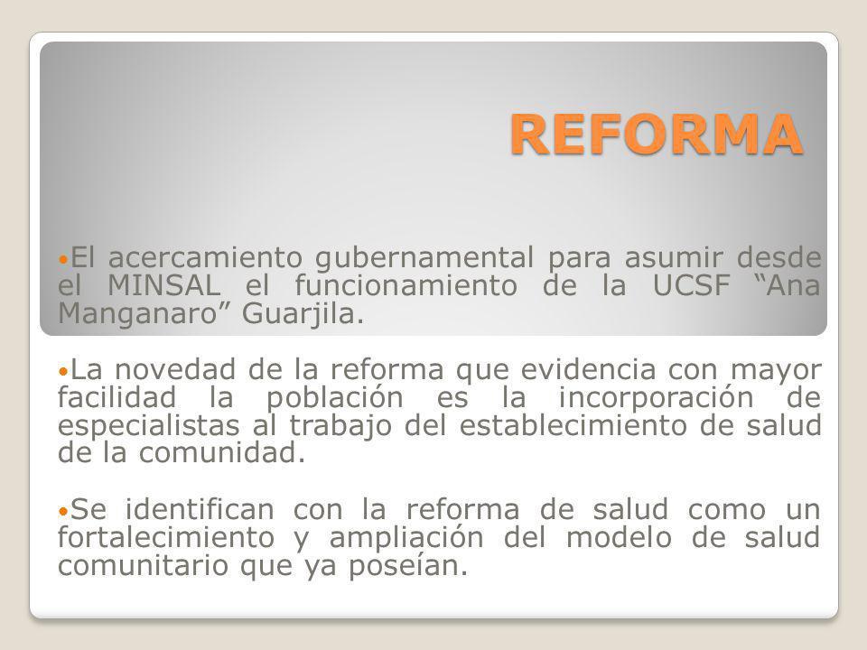 REFORMA El acercamiento gubernamental para asumir desde el MINSAL el funcionamiento de la UCSF Ana Manganaro Guarjila.
