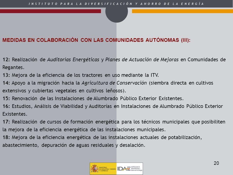 MEDIDAS EN COLABORACIÓN CON LAS COMUNIDADES AUTÓNOMAS (III):