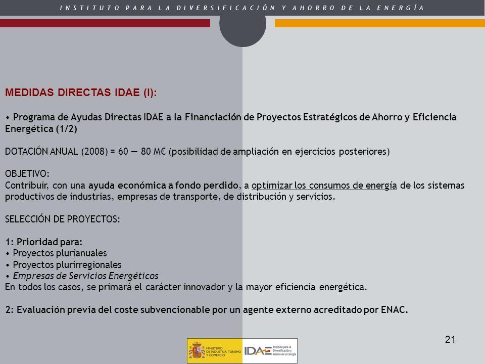 MEDIDAS DIRECTAS IDAE (I):