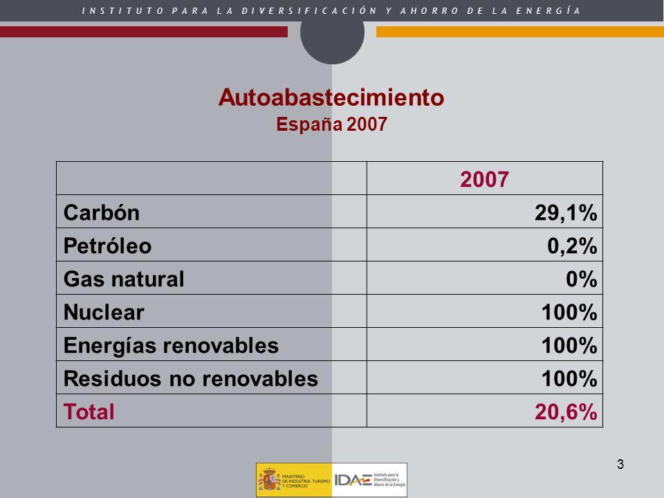 Autoabastecimiento 2007 Carbón 29,1% Petróleo 0,2% Gas natural 0%