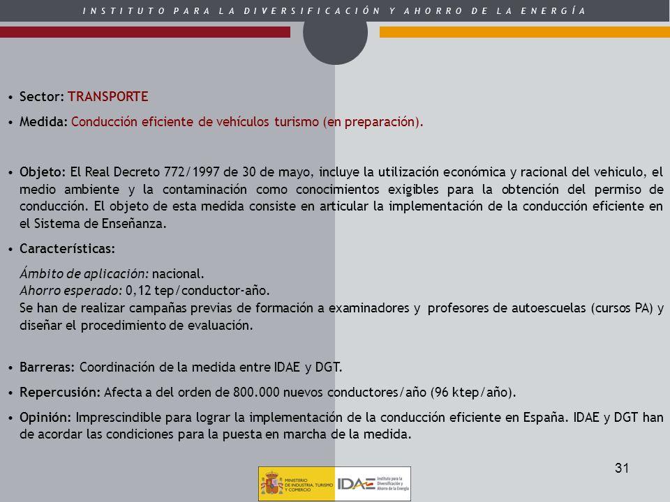 Sector: TRANSPORTEMedida: Conducción eficiente de vehículos turismo (en preparación).