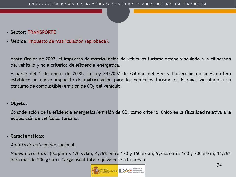Sector: TRANSPORTEMedida: Impuesto de matriculación (aprobada).