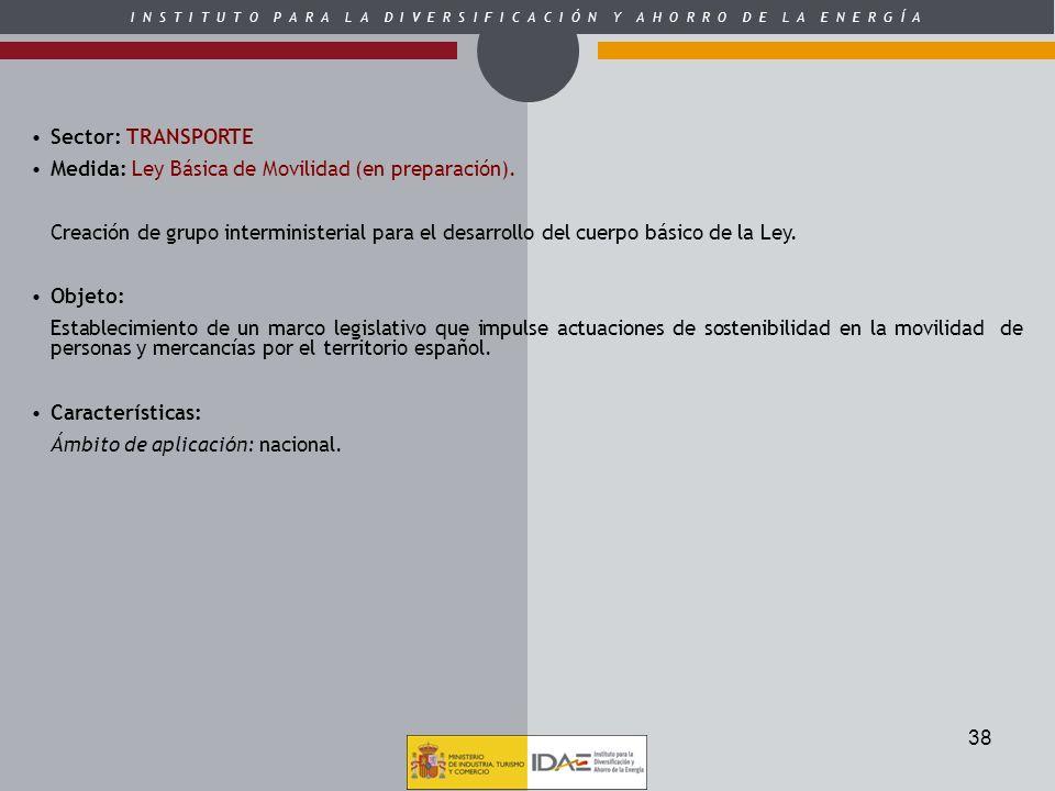 Sector: TRANSPORTEMedida: Ley Básica de Movilidad (en preparación).
