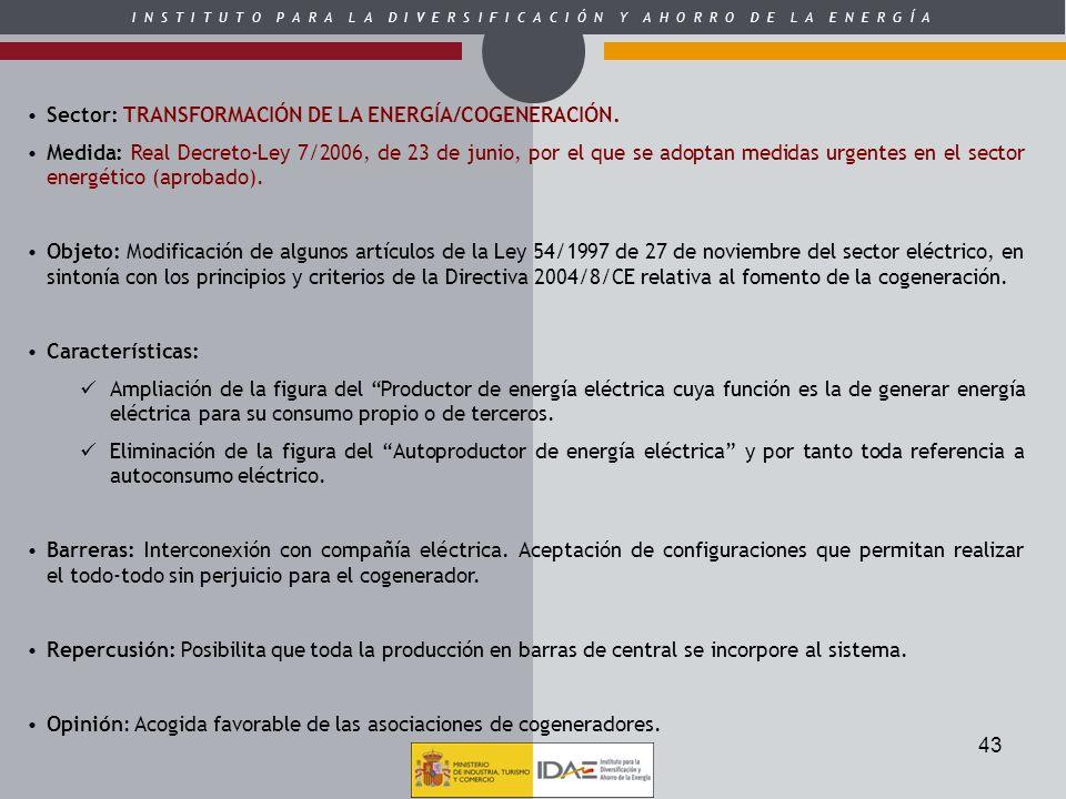 Sector: TRANSFORMACIÓN DE LA ENERGÍA/COGENERACIÓN.
