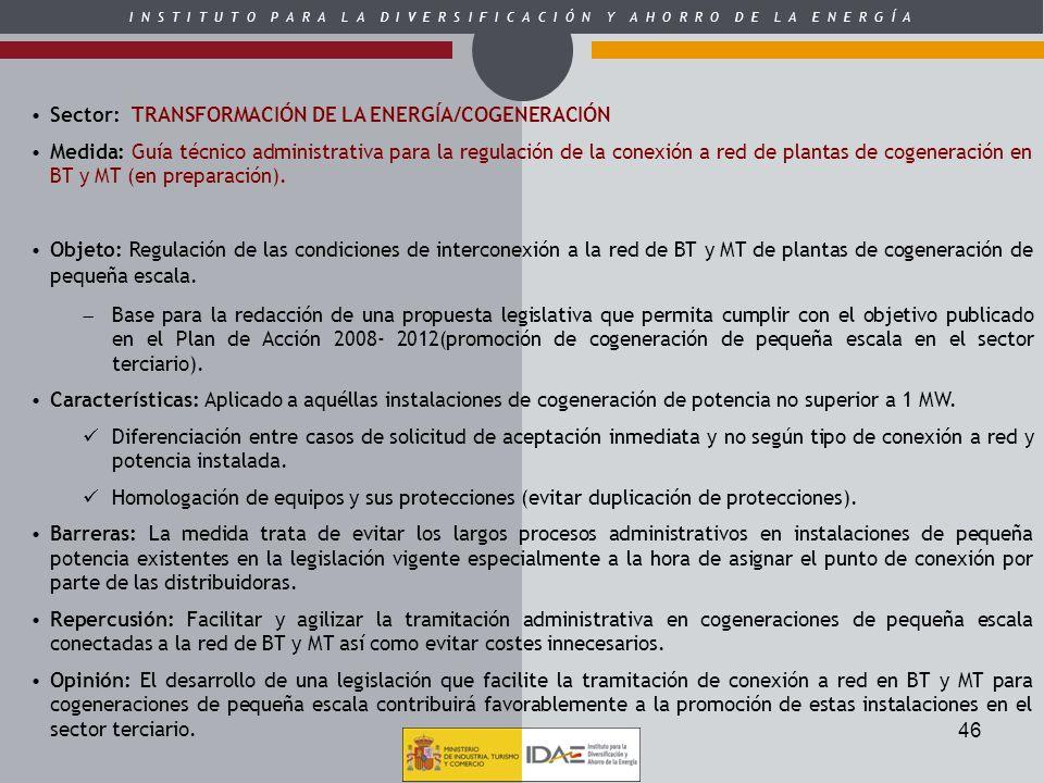 Sector: TRANSFORMACIÓN DE LA ENERGÍA/COGENERACIÓN