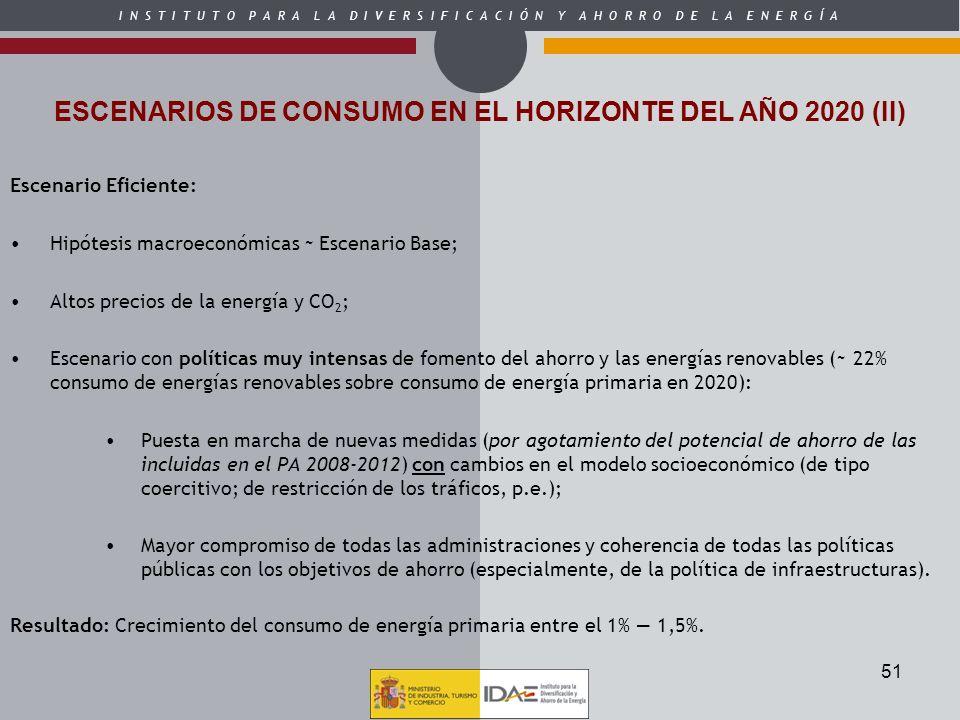 ESCENARIOS DE CONSUMO EN EL HORIZONTE DEL AÑO 2020 (II)