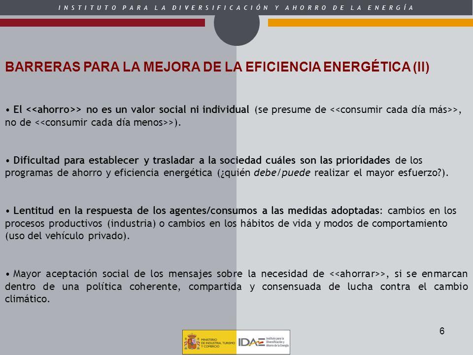 BARRERAS PARA LA MEJORA DE LA EFICIENCIA ENERGÉTICA (II)