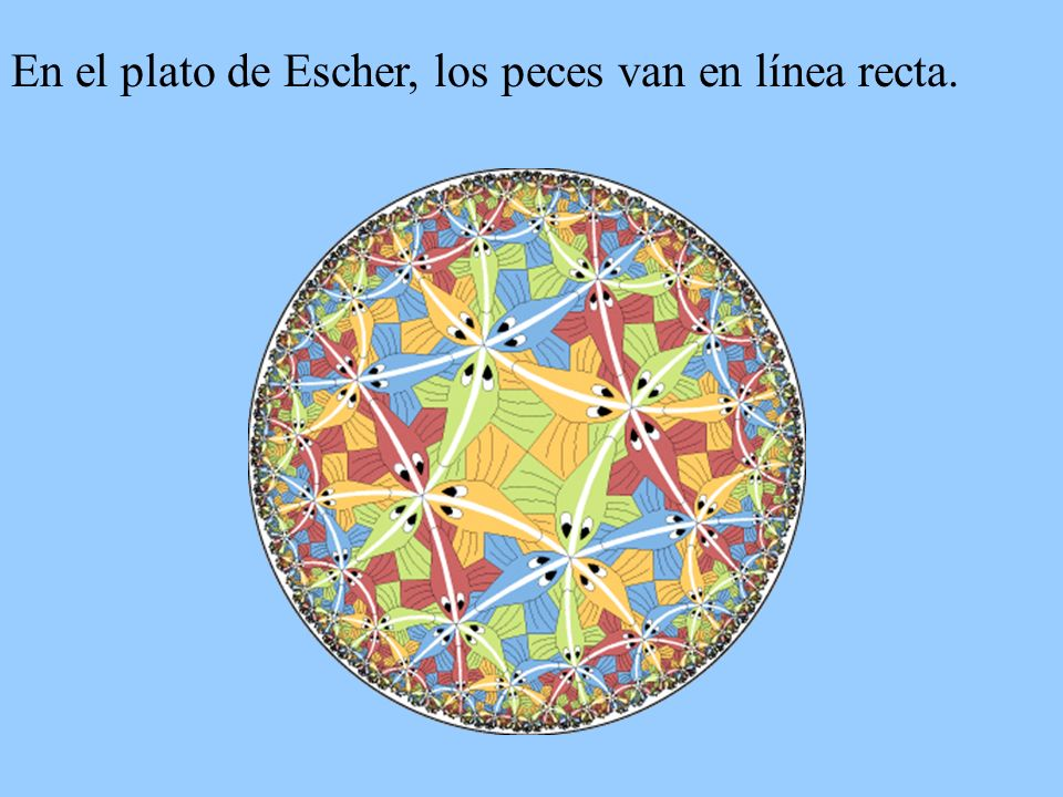 En el plato de Escher, los peces van en línea recta.