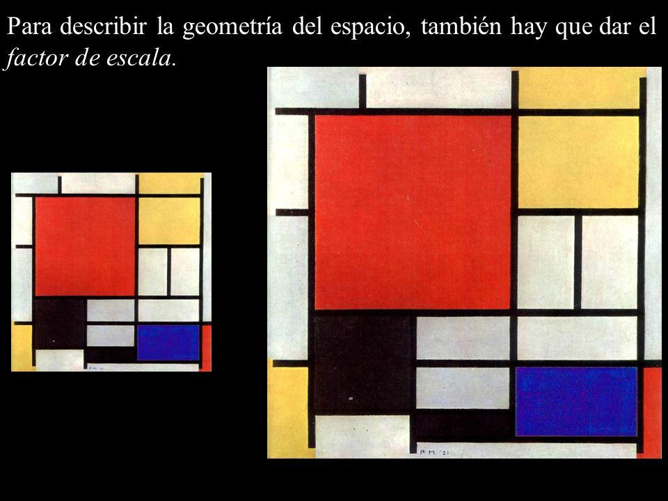 Para describir la geometría del espacio, también hay que dar el factor de escala.