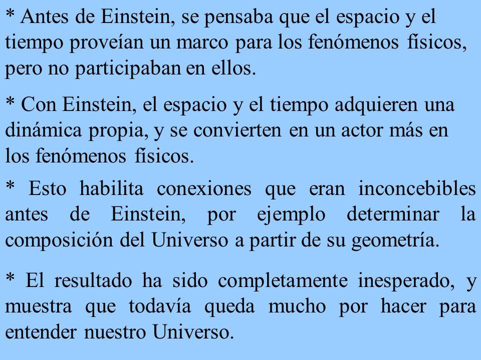 * Antes de Einstein, se pensaba que el espacio y el tiempo proveían un marco para los fenómenos físicos, pero no participaban en ellos.
