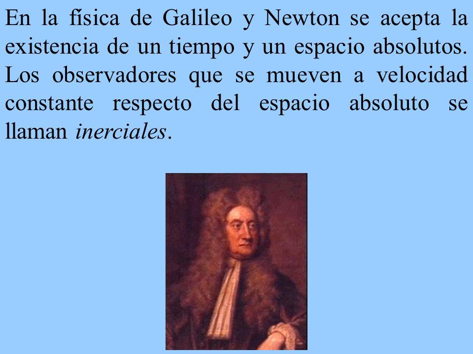 En la física de Galileo y Newton se acepta la existencia de un tiempo y un espacio absolutos.