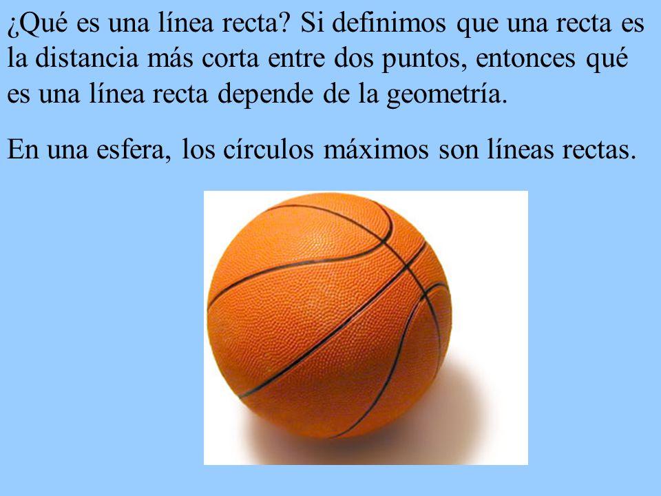 ¿Qué es una línea recta Si definimos que una recta es la distancia más corta entre dos puntos, entonces qué es una línea recta depende de la geometría.