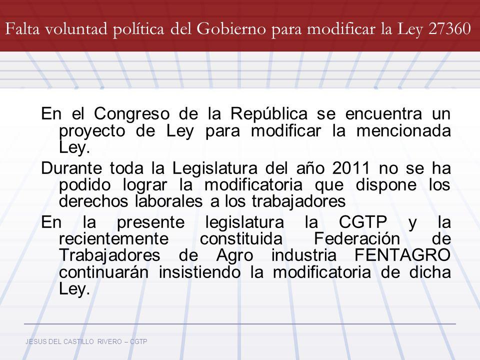 Falta voluntad política del Gobierno para modificar la Ley 27360
