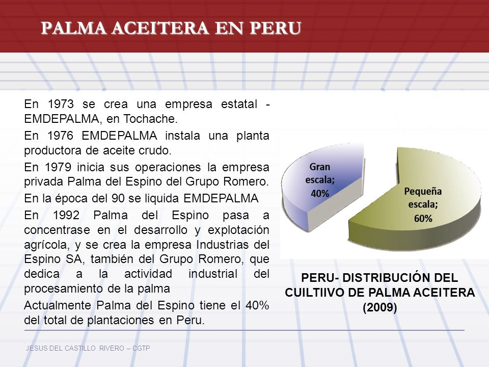 PERU- DISTRIBUCIÓN DEL CUILTIIVO DE PALMA ACEITERA (2009)