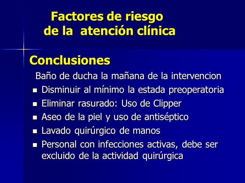 Factores de riesgo de la atención clínica Conclusiones