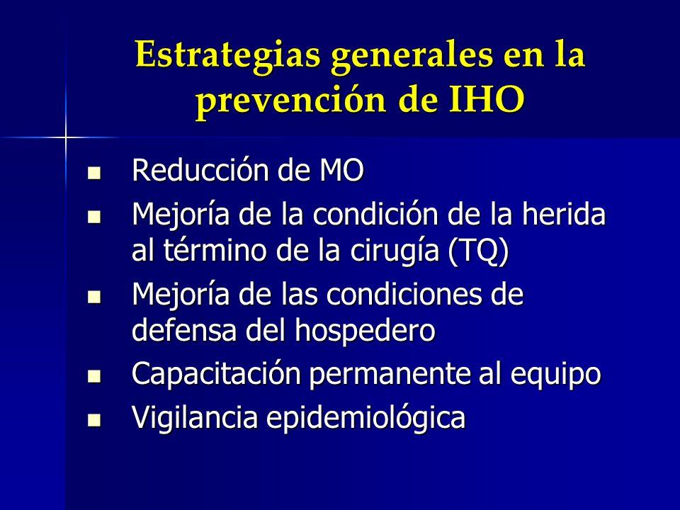 Estrategias generales en la prevención de IHO