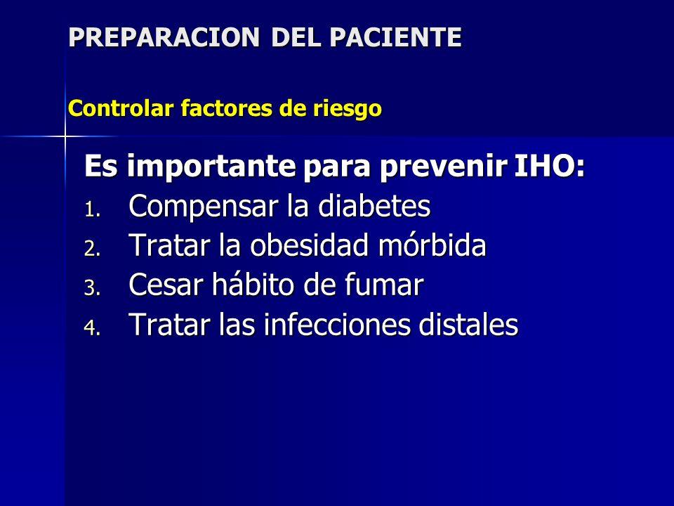 PREPARACION DEL PACIENTE Controlar factores de riesgo