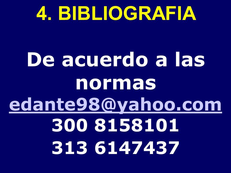 4. BIBLIOGRAFIA De acuerdo a las normas edante98@yahoo.com 300 8158101